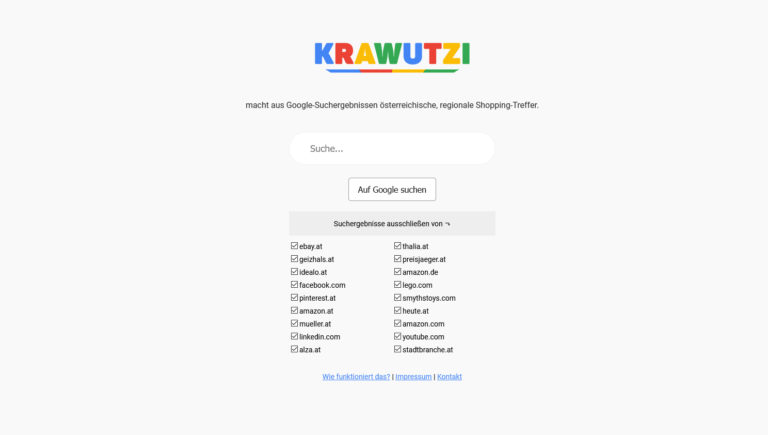 krawutzi.at färbt Google Suchergebnisse rot-weiß-rot, um lokale Händler bei Google besser sichtbar zu machen